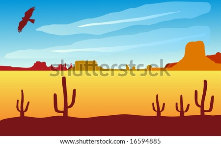 Monument valley landscape with eagle. Also available as vector - stock photo
