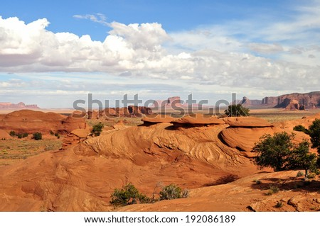Monument Valley National Park, within the reservation of the Navajo Nation in Arizona India, USA. - stock photo