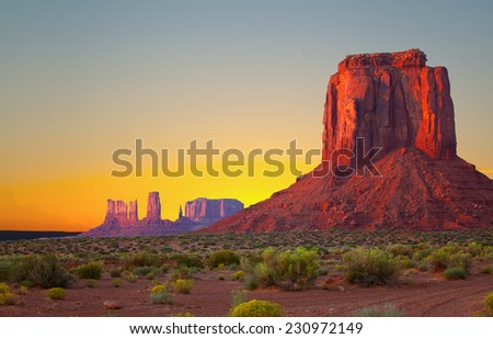 Monument Valley, USA colorful sunrise or sunset desert landscape of Navajo Nation Park in Utah and Arizona