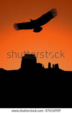 monument valley with a vulture illustration, western - stock photo