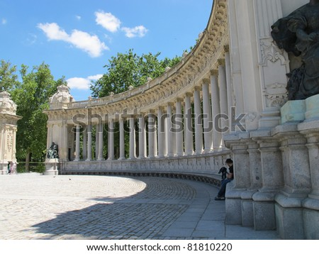 monument with columns in Madrid Spain