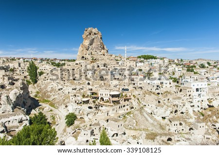 Monumental ancient Ortahisar castle in Cappadocia, Turkey - stock photo