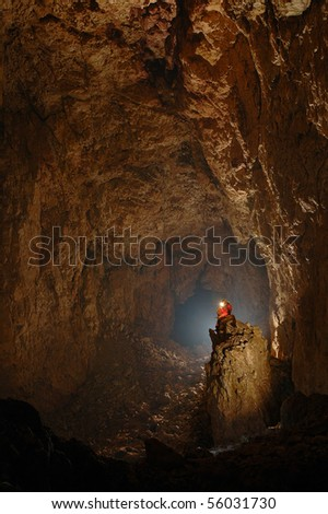 Monumental cave hall - stock photo
