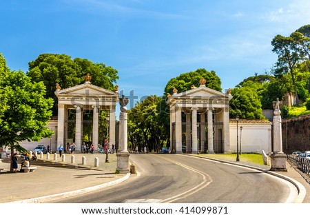 Monumental entrance to the Villa Borghese in Rome - Italy