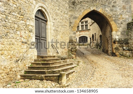 Monumental medieval citadel and tourist Perouges, Rhone Alps, Lyon, France. Europe. - stock photo
