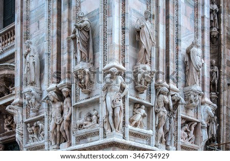Monuments at facade of the Cathedral of Milano, Duomo di Milano, Italy, - stock photo