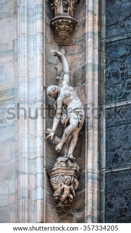 Monuments at facade of the Cathedral of Milano, Duomo di Milano, Italy, - stock photo