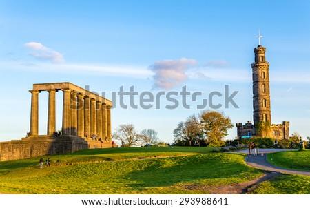 Monuments on Calton Hill in Edinburgh - Scotland - stock photo