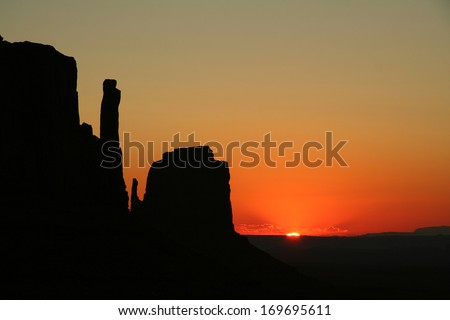 Monumet Valley at sun rise - stock photo