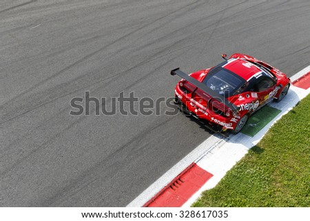 Monza, Italy - May 30, 2015: Ferrari 458 Italia of MP1 Corse team, driven  by DI AMATO Daniele - MUGELLI Massimiliano) during the C.I. Franturismo - Race in Autodromo Nazionale di Monza Circuit