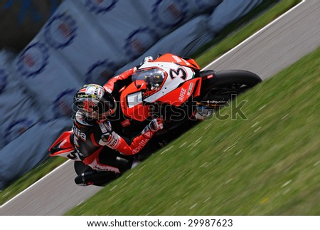 MONZA, ITALY - MAY 10 : Max Biaggi in action in superbike SBK2009 at  Monza Circuit May 10, 2009 in Monza, Italy.