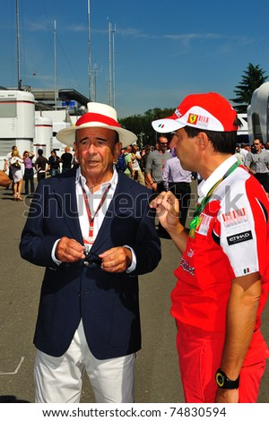 MONZA, ITALY - SEPTEMBER 11: Emilio Botin arrives at at the invitation of the Ferrari paddock for the Grand Prix of Italy on September 11, 2010 in Monza, Italy - stock photo