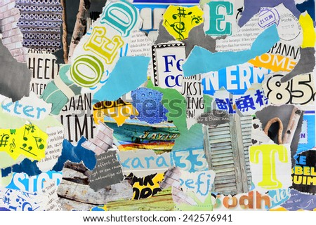 Mood board made of pieces of magazines - stock photo