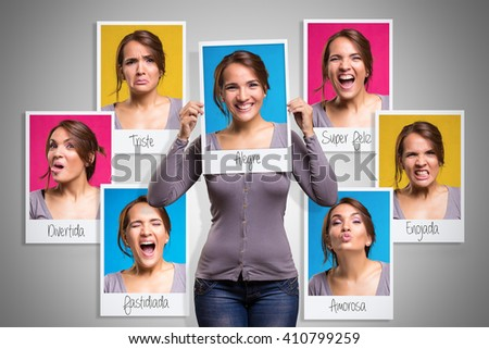 Mood changes in a woman in her day period - stock photo