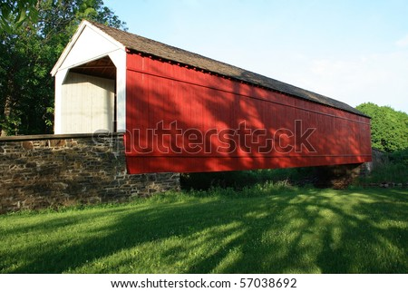 Mood's Covered Bridge located in Bucks County, Pennsylvania - stock photo