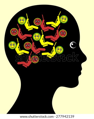 Mood Swings. Concept sign of woman with phases of depression and mania - stock photo
