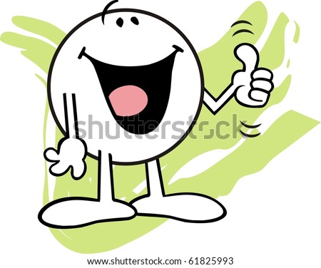 Moodie character happily giving one thumb up - stock photo