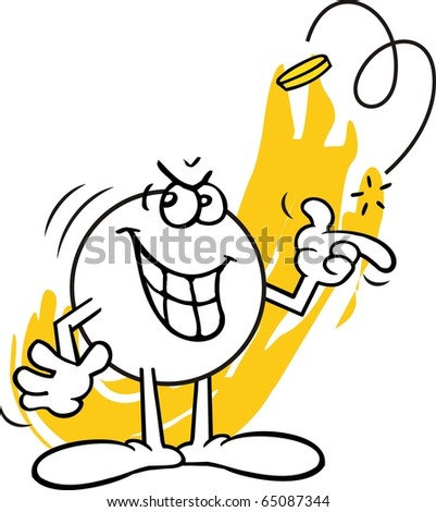 Moodie character, with a wicked look on face, flipping a coin - stock photo