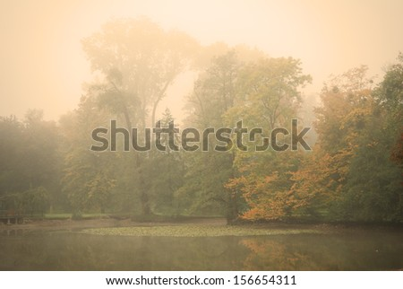 Moody autumn morning in a forest park with a calm pond water in the foreground - stock photo
