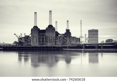 Moody image of Battersea Power Station, London, UK - stock photo