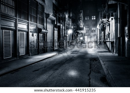 Moody monochrome view of Cortlandt Alley by night, in Chinatown, New York City - stock photo