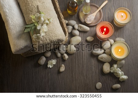 Moody spa center table top shot. Aromatherapy. - stock photo
