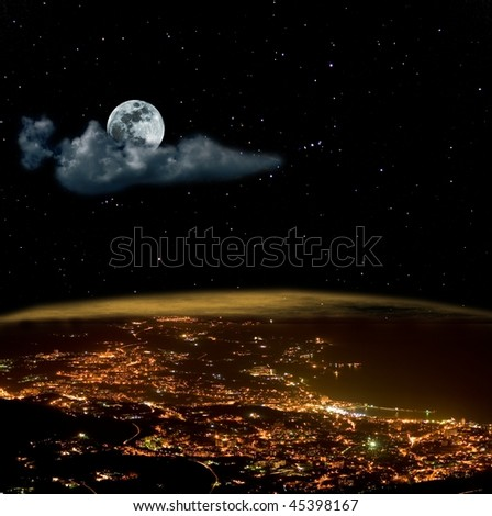 moon above a night town