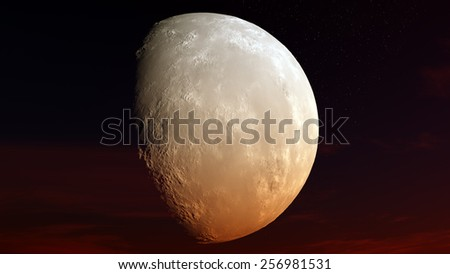 Moon against the starry sky - stock photo