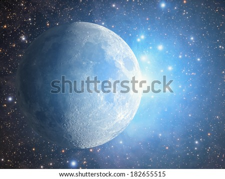 Moon among thousands blue stars and nebulosity. - stock photo