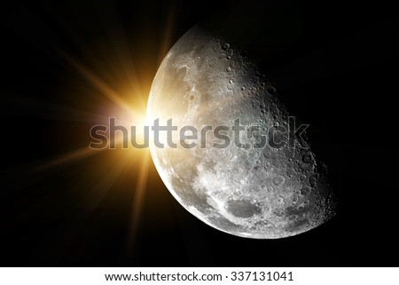 Moon an sun in space - Elements of this image furnished by NASA - stock photo