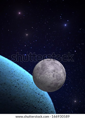 Moon and alien planet. Image including elements furnished by NASA. - stock photo
