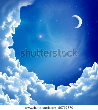 moon and beautiful clouds - stock photo