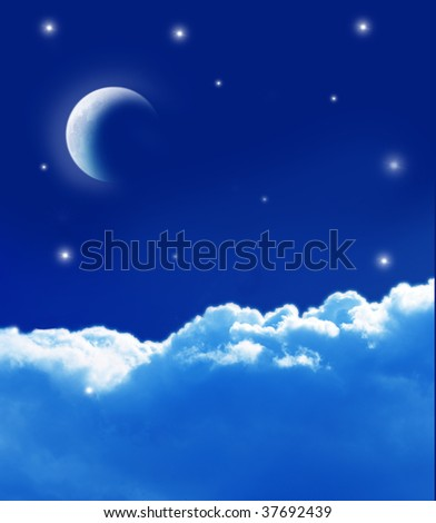 moon and cloud - stock photo