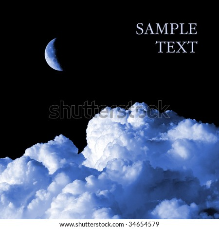 Moon and cloud on black background (Isolated with space for text). - stock photo