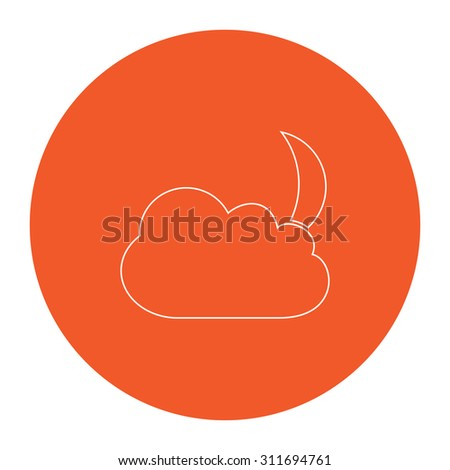 Moon and clouds. Flat white symbol in the orange circle. Outline illustration icon - stock photo