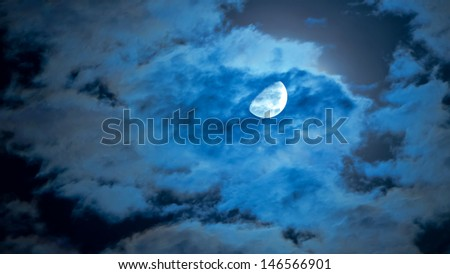 moon and clouds in a cloudy night - stock photo