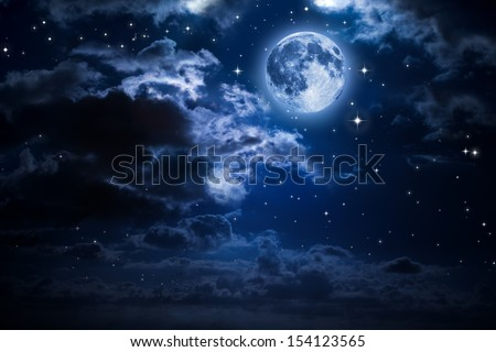 moon and clouds in the night - stock photo