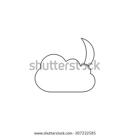 Moon and clouds. Outline black simple symbol - stock photo