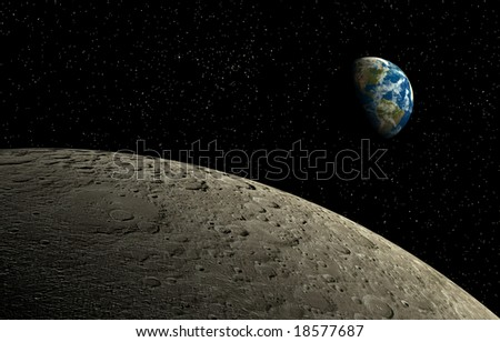 Moon and Earth - stock photo