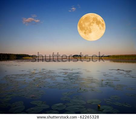 moon and lake - stock photo