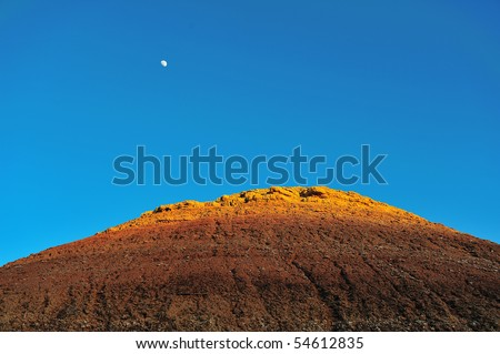 Moon and Mountain, Morocco - stock photo