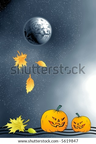 Moon and pumpkins and fall leaves