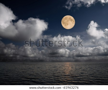 moon and sea - stock photo