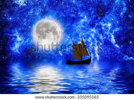 moon and stars and boat reflects into water. Elements of this image furnished by NASA - stock photo