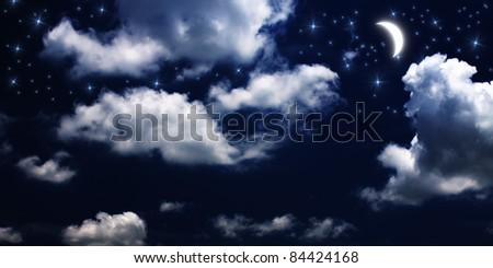 Moon and stars at night - stock photo