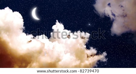 Moon and stars at night with color water paint style - stock photo