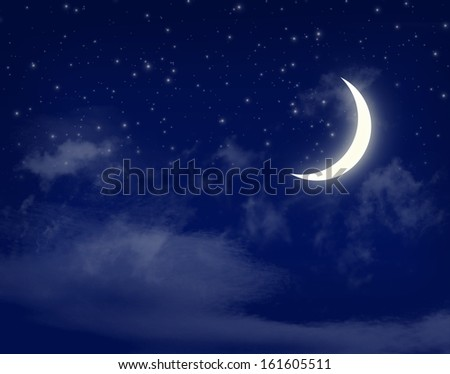 Moon and stars in a cloudy night blue sky background - stock photo