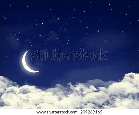 Moon and stars in a cloudy night blue sky background