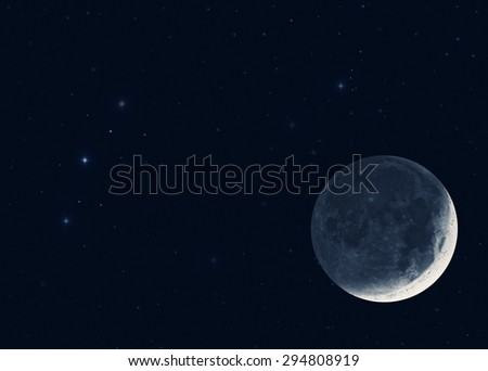 Moon and stars on a black background. Mosaic taken through my telescope. No elements of NASA or other third party. - stock photo
