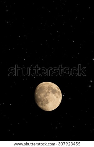 Moon and stars on a black background. Mosaic taken through my telescope. No elements of NASA or other third party - stock photo